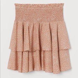 H&M Lyocell-Blend Printed Tiered Mini Skirt XL